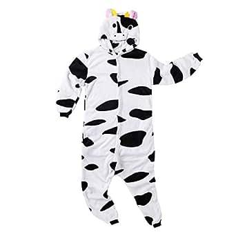 ca97febbfd Imagen no disponible. Imagen no disponible del. Color  dPois Pijama Vaca  Forro Polar Franela Mujer Hombre Mono Animal Unisex Adulto Lenceria con  Capucha ...