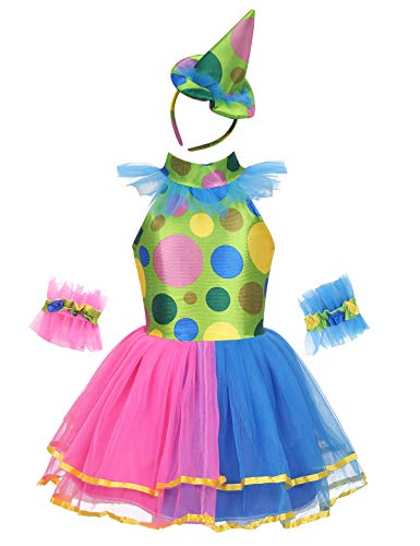 dPois Kids Girls' Clown Cosplay Fancy Costume Circus Themed Party Polka Dots Tutu Dress with Hair Hoop Arm Sleeves Colorful 5-6]()