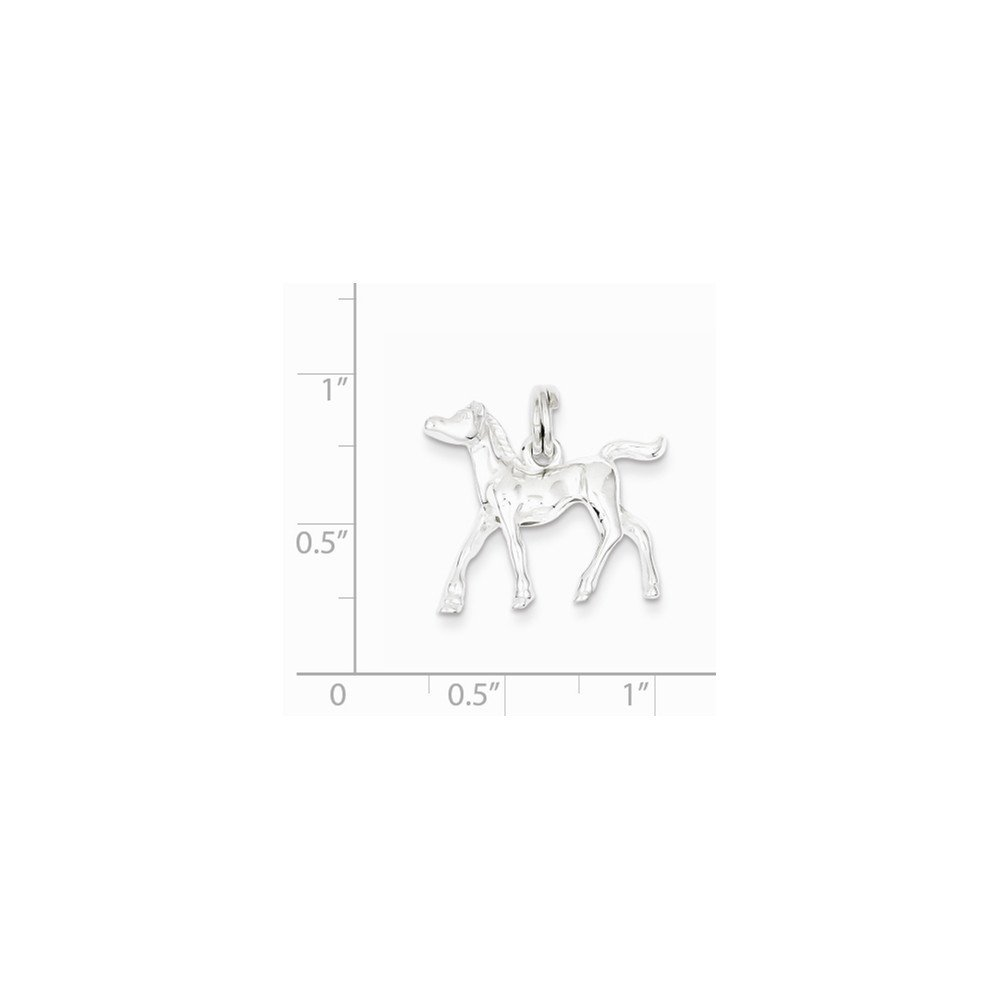 0.79 in x 0.87 in Sterling Silver Horse Charm Pendant