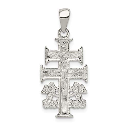 (925 Sterling Silver Caravaca Double Cross Religious Angels Crucifix Pendant Charm Necklace Angel Cara Vaca Fine Jewelry Gifts For Women For Her )