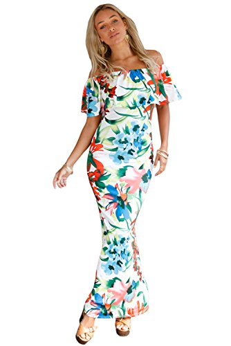 Damen Bright Floral Print Off Schulter Rüschen Maxi Kleid Club Wear ...