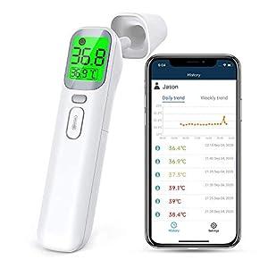 Thermomètre Frontal Infrarouge, ViATOM Thermomètre Numérique sans Contact avec Écran LCD, 4 en 1 Thermometre Frontal…