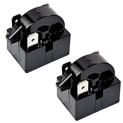 HQRP 2-Pack QP2-4R7 4.7 Ohm 3-Pin PTC Starter/Start Relay Replacement for Mini Fridges, Compact Refrigerators, Beverage & Wine/Beer coolers, Deep Freezers, Beer/Wine Refrigerators + Coaster