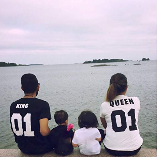 湿度ユーモアとにかく新婚 優れた 夏 お揃いレディース メンズ tシャツ KING QUEEN 男女兼用 ご夫婦 カップル レディース メンズ