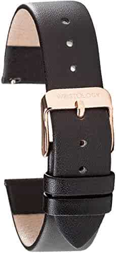 Wristology Quick Release Genuine Leather Easy Change Band Strap 18mm (Black)