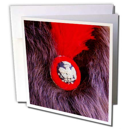 3dRose Alexis Photography - Objects Military - Image of a Badge and red Plume on a Napoleon Soldier Bear Skin hat - 12 Greeting Cards with envelopes (gc_304805_2) (Red Image Photography)