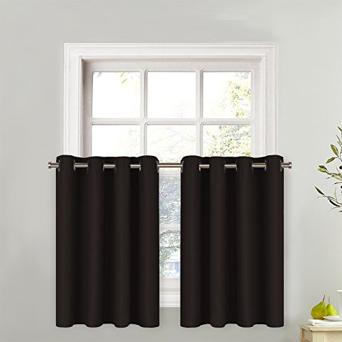 NICETOWN Kitchen Valance Window Treatments - Eyelet Top Home Fashion Blackout Curtain Tailored Tier (Single Piece, W52 x L24-Inch + 1.2-Inch Header, Toffee Brown)