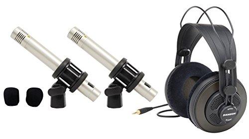 (Samson C02 Pair Pencil Condenser Studio Recording Microphones Mics+Headphones)