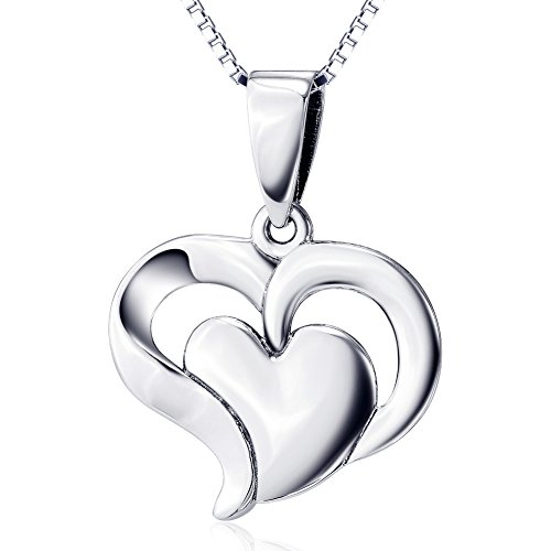 Necklace Heart (925 Sterling Silver Jewelry Double Heart Pendant Necklace for Women, 18
