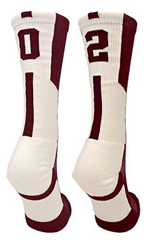 TCK Player Id Maroon/White Number Crew Socks (#02, Medium)