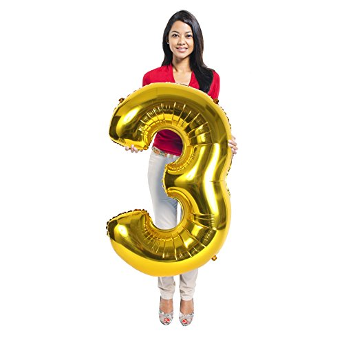 Gold Number 3 Mylar Balloon Three Year Old Birthday Decorations Party Supplies for Girls and Boys Large Foil Photo Props Picture Booth Big Ornaments