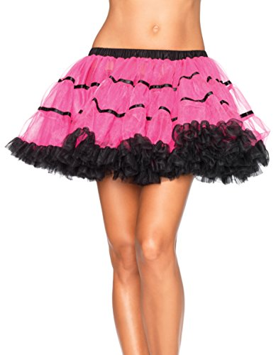 80s Diva Adult Costume - Leg Avenue Women's Layered Striped Petticoat Dress, Neon Pink/Black, One Size