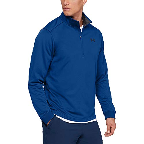 (Under Armour Men's Armour Fleece 1/2 Zip, Royal (400)/Black, Medium)