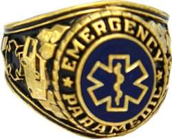 Brass 18k Gold Electroplated (Emergency Paramedic 18k Gold Plated Ring (11))