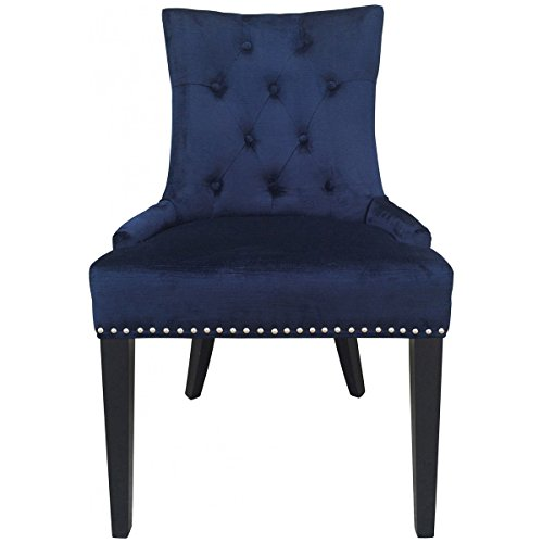 TOV Furniture Uptown Navy Velvet Dining Chair Set of 2 TOV-D30