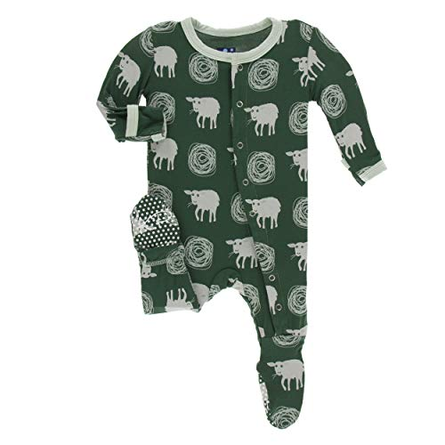 Kickee Pants Little Boys Print Footie with Snaps - Topiary Tuscan Sheep, 9-12 Months