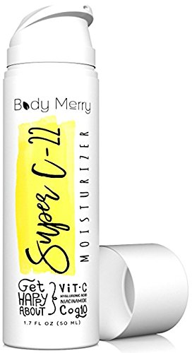 Body Merry Face Moisturizer Cream - Anti-Aging Lotion for Wrinkles, Lines, Acne & Dark Spots w 22% Vitamin C, Hyaluronic Acid, Niacinamide, CoQ10 (Best Body Moisturizer With Spf)