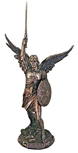 St. Michael the Archangel from the Veronese Collection, without the devil in lightly hand-painted cold cast bronze. 18