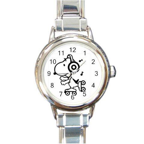 Snoopy Roller Skating Listening To Music Round Italian Charm Watch - Music Italian Charm