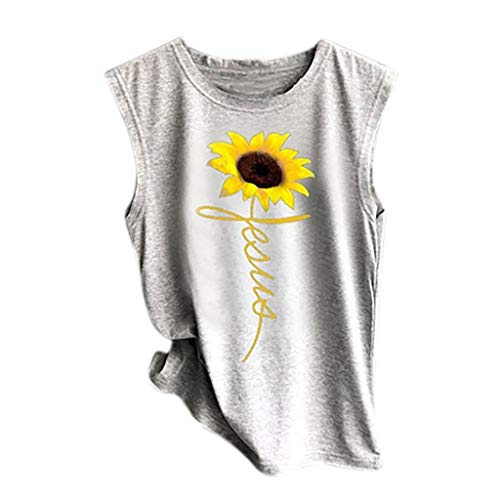 Tank Tops for Womens, FORUU Sunflower Printed Vest Casual Loose Pullover Tunic Crop Camisole 2019 Teens Fashion Under 5 Dollars Best Gift for Girlfriend Summer Party -