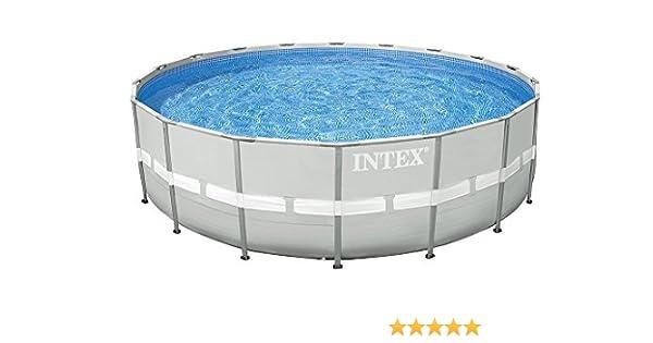 Intex 28336 - Piscina (Piscina con Anillo Hinchable, Círculo, Gris, Metal, 5, 49 m, 1320 mm): Amazon.es: Jardín