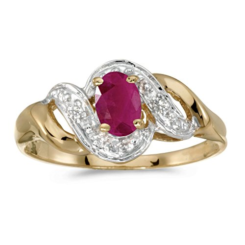 (FB Jewels 14k Yellow Gold Genuine Red Birthstone Solitaire Oval Ruby And Diamond Swirl Wedding Engagement Statement Ring - Size 6 (0.36 Cttw.))