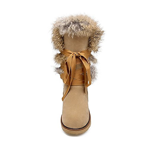 HSXZ Womens Shoes Flocking Winter Fall Snow Boots Fur Lining Boots Low Heel Round Toe Mid-Calf Boots for Casual Dress Black Gray Almond