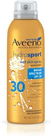 Aveeno Hydrosport Wet Skin Spray Sunscreen With Broad Spectrum SPF 30, 5 Oz