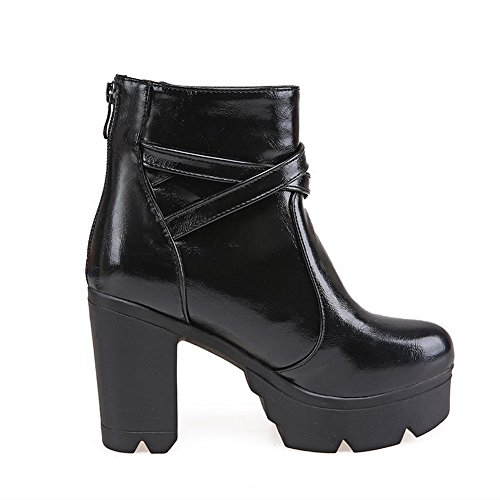 AllhqFashion Toe Closed Zipper Low Top Womens Heels Boots Black Round Solid High Hwx1HBqO