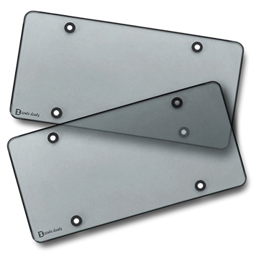 Zento Deals Clear Smoked License Plate Covers - 2-Pack - Novelty/License Plate Clear Smoked Flat Shields Covers (License Plate Cover Tint)