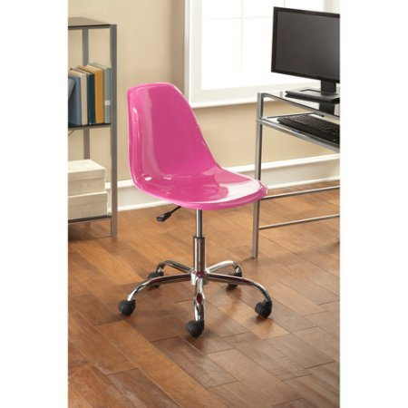 Contemporary Office Chair, Multiple Colors Sleek, durable and comfortable Product Adjustable height Shiny chrome base legs Made with ABS material Dimensions (L x W x H): 24.41 x 22.64 x 34.25 Inches by Mainstay