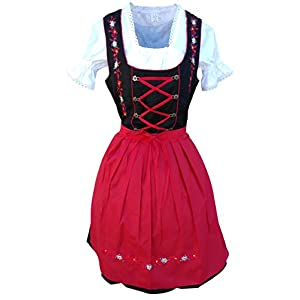 Dirndl World 3pcs. bavarian mini Dirndl-s dress-es, Drindle-s Blouse, Apron, Sizes 4-22 Di06