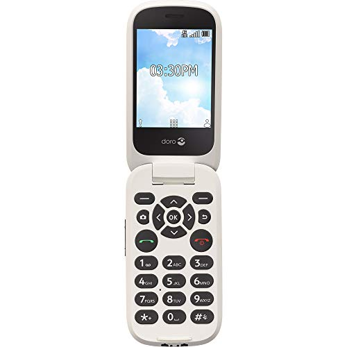 Doro (7050TL) Flip Easy-to-Use Cell Phone for Seniors by Tracfone (White/Black) (Multi color)