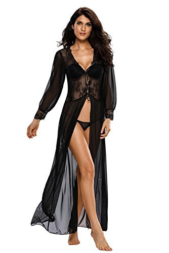(Women Sexy Lace Floral Sheer Long Lingerie Robe Set With Thong, Black, (US)