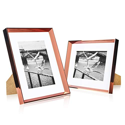 - elabo 8x10 Picture Frame (2 Pack) - High Definition Glass Display Pictures 5x7 with Mat or 8x10 Without Mat - Vertical or Horizontal - Wall Mounting or Table Top (Rose Gold)