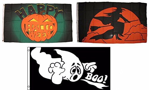 ALBATROS 3 ft x 5 ft Happy Halloween 3 Pack Flag Set #191 Combo Banner Grommets for Home and Parades, Official Party, All Weather Indoors Outdoors ()