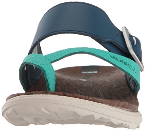 Around Buckle Thong Poseidon Heels Print Women's Blue Town Sandals Merrell Bdq74wnTU7