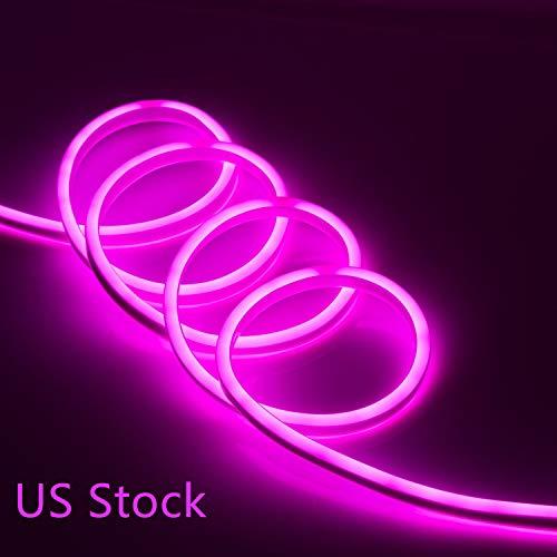 US Stock LED Flexible Soft Neon Rope Strip Light Waterproof Bar Store Decor Or Commercial Use Tube Lighting 110V (150FT, Pink)]()