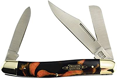 """Beautiful 4 1/2"""" Crowing Roster Appaloosa 3 Blade Early Rise Stockman Pocket Knife"""