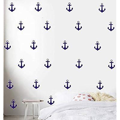 YOYOYU Set of 48 Anchor Pattern Wall Sticker Vinyl Sailing Nautical Wall Decal- Kids Boys Room Interior Home Decoration Mural (Dark Blue): Home & Kitchen