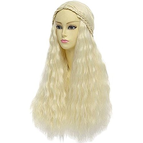 Anogol Hair+Cap Blonde Braided Wig Blonde Cosplay Wig Synthetic Wig for Girls Long Blonde Wig for Cosplay Costume Wig for Halloween