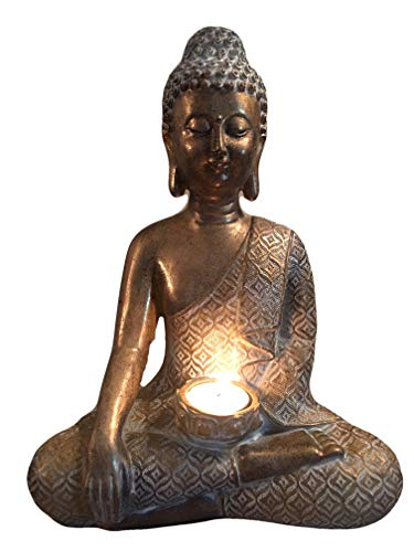 Buddha Statue Figurine Candle Holder 12 Inch Meditating Hand Crafted with Patina Gold Finish Large