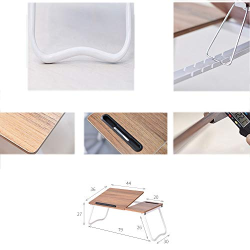 Cxmm Wood Folding Lazy Table, Non-Slip Lightweight Stable Sturdy Adjustable Bearing Capacity Large Laptop Stand Bed Sofa Dormitory Modern by Cxmm (Image #2)