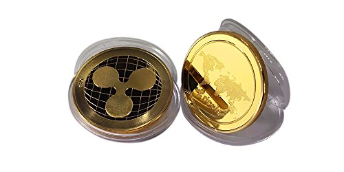 Limited Edition 24K Gold Plated Collectable Ripple Xrp Bitcoin Crypto Currency 2 Pack Coin