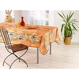 TableCloth Provence Nappe Provençal Anti Taches 100% Polyester IMP Glycine Saumon Couleur Saumon, Format Rectangle, Dimension 240×150