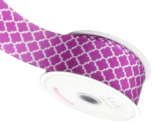 LUV RIBBONS Fabric Ribbon by Creative Ideas, 1-1/2-Inch, Satin Geometric, Purple