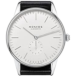 Nomos Glashuette Men's Orion 38mm Black Leather Band Steel Case Mechanical White Dial Analog Watch 386