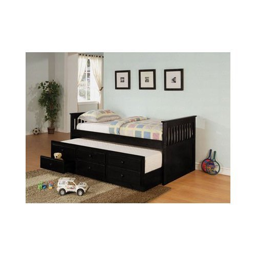 Coaster Day Bed with Trundle Mission Style in Black Finish, Black (Frame Daybed Mission)
