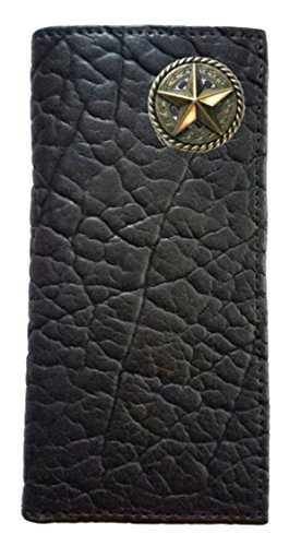 USA American Long IN Proudly Fancy Star Checkbook Buffalo THE Hide Wallet MADE Custom Garland Black w6B1F