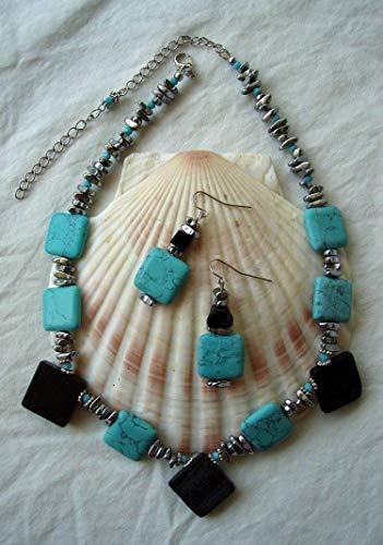 Geometric Blackstone Imitation Turquoise Silver Hematite Beaded Necklace Earring Handmade Jewelry Set